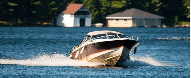 motor boat out on lake