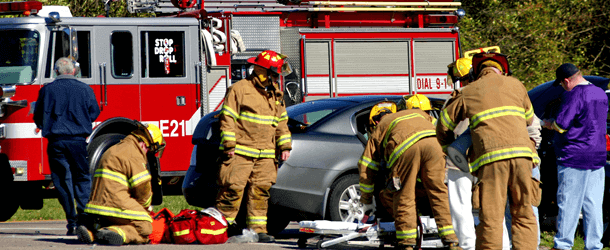 car accident with emergency crew